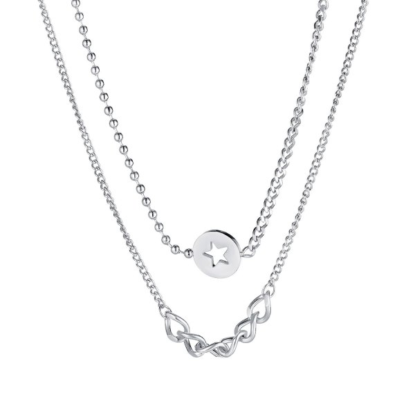 Japanese and Korean Classic Five Pointed Star Double Titanium Steel Necklace Women's Clavicle Chain Pendant Gb1711
