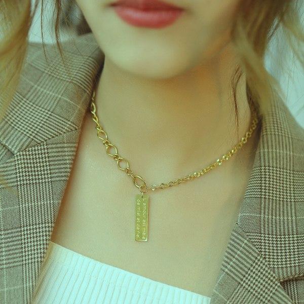 New Personality Design Ins Miniature Chain Simple Temperament Square Titanium Necklace Female Gb1706