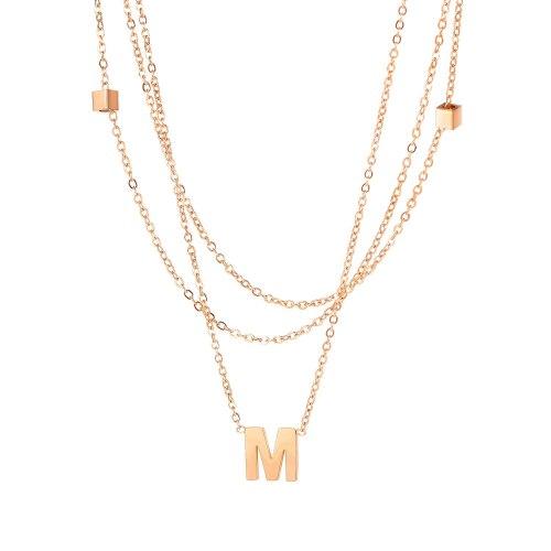 Ins Titanium Steel Necklace Feminine Multi-layer Letter M Pendant Gb1726