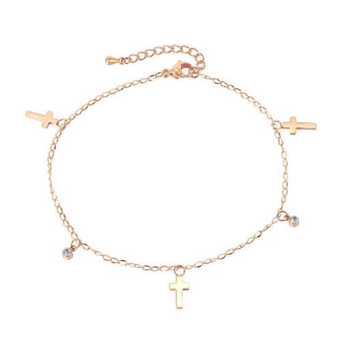 European and American Fashion Jewelry Summer 100 Titanium Cross Anklet Women Simple Temperament Gb116