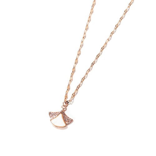 New Korean Shell with Diamond Skirt Women's Titanium Steel Necklace Simple Gift for Girls Gb010
