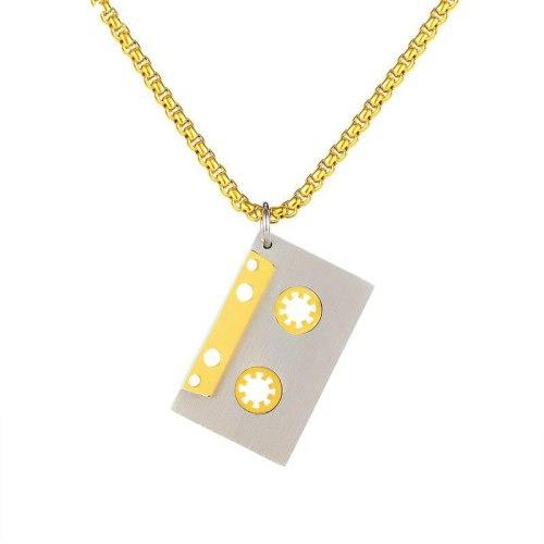 Korean Classic Retro Tape Pendant Men Titanium Necklace Jewelry Gb1776