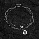 Korean Version Trend Letter W Double Chain Lady Titanium Steel Necklace Collarbone Chain Pendant Gb1788