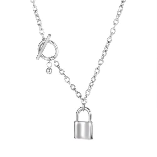 Ins Korea Personalized Lock Necklace Plated with Rose Gold Titanium Steel Pendant Sweater Chain Clavicle Chain Gb1772