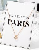 Korean Simple Stainless Steel Necklace Inlaid with Zirconium Roman Digital Necklace for Women To Send Girlfriends Gb1764