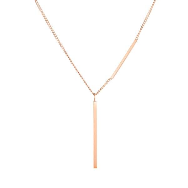 Japanese-Korean Personality Strip Pendant Sweater Chain Accessories Titanium Simple Necklace Gb1757