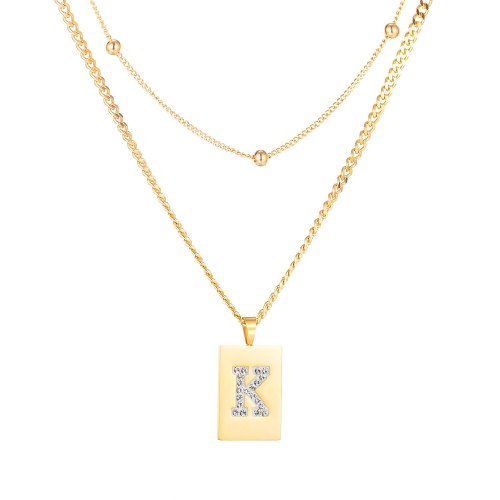 Japanese and Korean Fashion Square Letter K Necklace Women's Titanium Steel Plated Rose Gold Clavicle Chain Pendant Gb1775