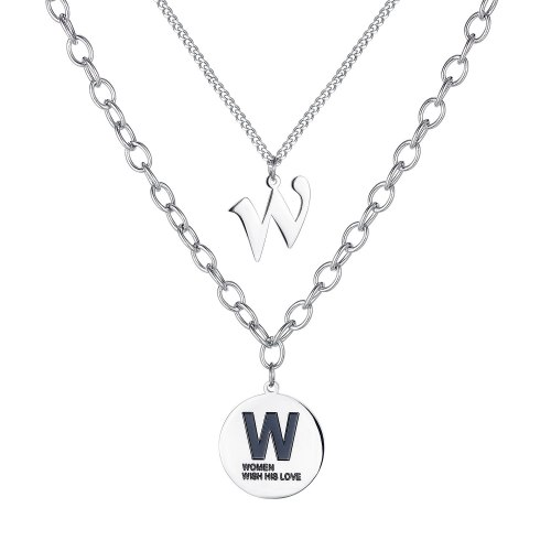 Korean Version Trend Letter W Double Chain Lady Titanium Steel Necklace Collarbone Chain Pendant Gb1788