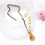 Korean Sweet and Lovely Wind Star Smile Face Pendant Ins Fashion Rose Gold Plated Titanium Steel Chain Necklace Gb1771