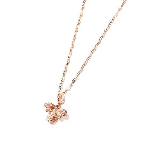 Korean Creative Small Bee Inlaid Diamond Pendant Clavicle Chain Titanium Steel Fashion Necklace Women Wholesale Gb012