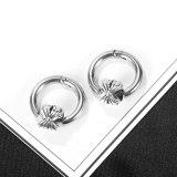 New Stainless Steel Stud Earrings Personality Retro Flower Titanium Steel Men's Earrings Gb631