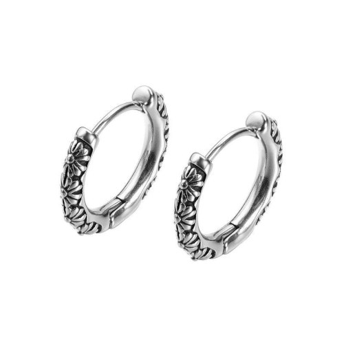 Stainless Steel Earrings Fashion Personality Sunflower Daisy Titanium Steel Men's Stud Earrings Earrings Wholesale Gb640