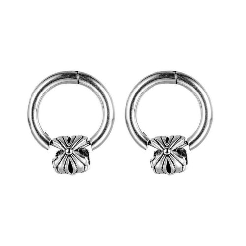 New Stainless Steel Stud Earrings Personality Retro Flower Titanium Steel Men's Earrings Gb631