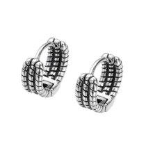 European Style Retro Old Multi-layer Twist Chain Titanium Steel Men's Earrings Fashion Earrings Stud Earrings Gb641