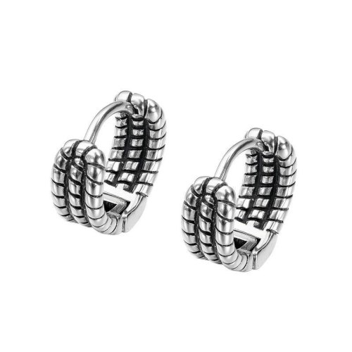 European Style Retro Old Multi-layer Twist Chain Titanium Steel Men's Earrings Fashion Earrings Stud Earrings Gb641