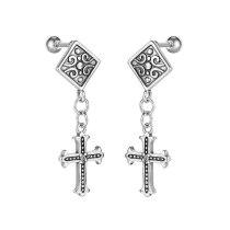 Vintage Men Titanium Steel Cross Earrings European and American Fashion Personality Stud Earrings Wholesale Gb643