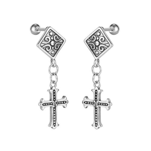 Vintage Men Titanium Steel Cross Earrings European and American Fashion Personality Stud Earrings Wholesale Gb643