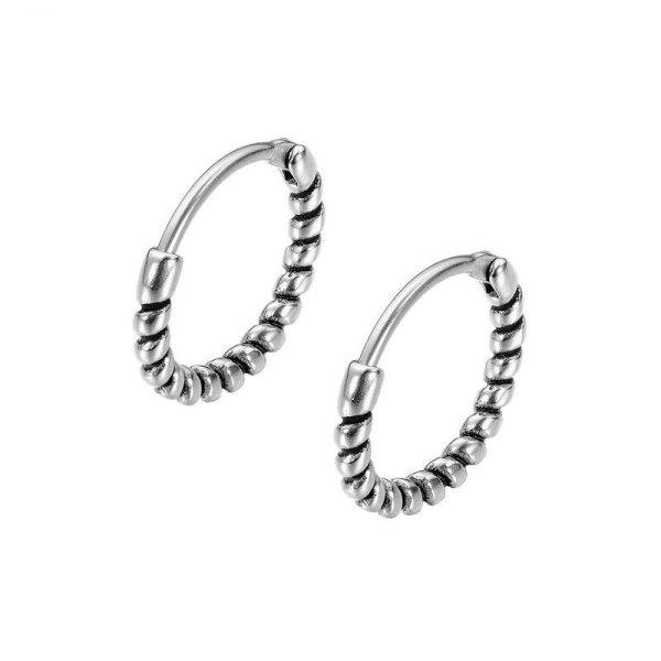 New Retro Winding Curved Men's Titanium Steel Stud Earrings Earrings 100-piece Geometric Earrings Wholesale Gb637