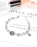 Han Version of The Trend 100 Round Star Pendant Lady Titanium Bracelet Personality Smiling Face Jewelry Gb1112