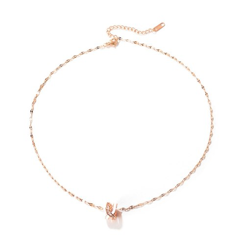 Japanese and Korean Fashion Hollowed-out Letters X Diamond Pendants Simple Rose Gold Necklace Women's Gb007