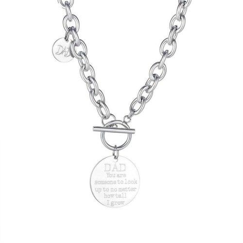 Korean Popular Jewelry Disc Lettering Ladies Titanium Steel Necklace Wholesale GB1780