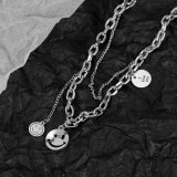 Japanese-Korean Smiling Face Titanium Necklace Female Round Neck Chain Wholesale Gb1783