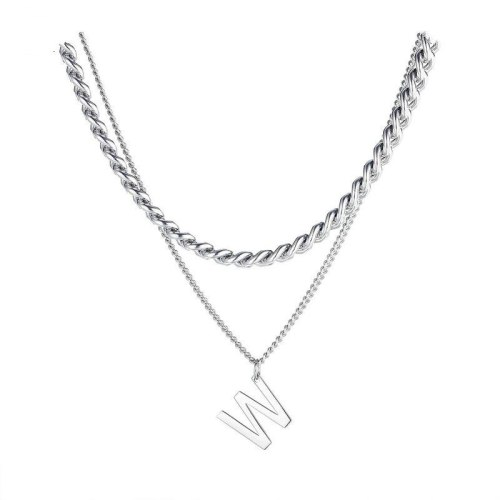 Japanese and Korean Double-layer Titanium Steel Necklace Female Fashion Personality Letter W Pendant Clavicle Chain Gb1787