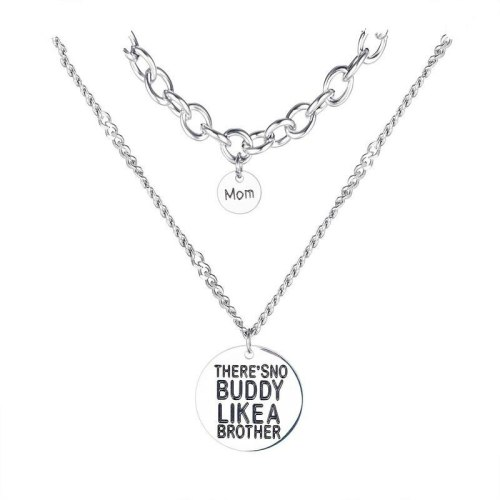 Han Plate Neck Chain Wholesale Fashion Round Lettering Pendant Lady Titanium Steel Necklace Chain Gb1792