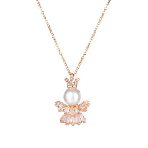 Japanese and Korean Stainless Steel Style Pearl Inlaid Diamond Little Princess Angel Lady Necklace Gb005
