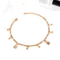 Japan and South Korea Small Clear Fashion Joker Ball Lock Ladies Titanium Steel Anklet Plated Rose Gold Jewelry Wholesale Gb121