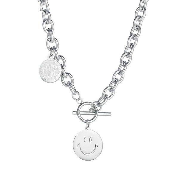 Korean Popular Stainless Steel Round Brand Necklace Smiling Face Love Titanium Steel Necklace Female Gb1777