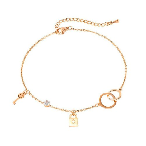 Japanese and Korean Sweet Style Smiling Face with Diamond Accessories Women's Key Lock Titanium Steel Chain Wholesale Gb119
