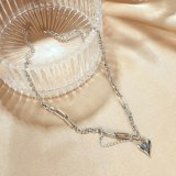 Korean Version of Titanium Necklace Love Splicing Neck Chain Jewelry Gb1712