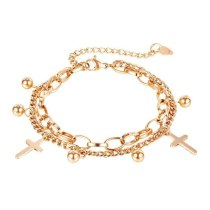 Fashion titanium steel double layer women's bracelet cross bead pendant jewelry wholesale GB 1113