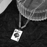 Japan and South Korea's New Retro Poker Pendant Clavicle Chain Fashion Titanium Steel Loving Lady Necklace Gb1781