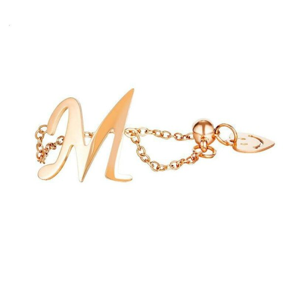 Korea Street Photo Accessories Wholesale Fashion Peach Heart Smile Letter M Titanium Steel Chain Adjustable Ring Female Gb699