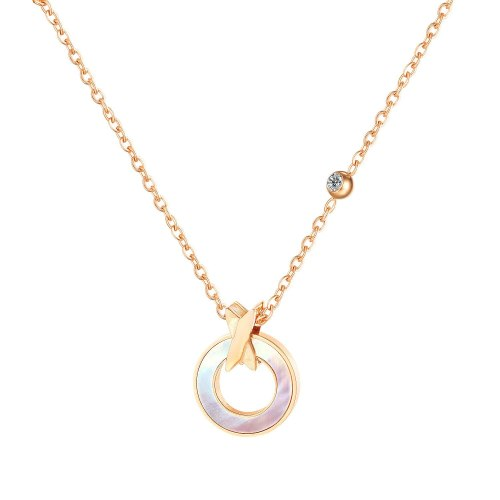 Ins Titanium Steel Necklace Female Round Mother Shell Pendant Clavicle Chain GB1718
