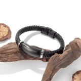 European and American Fashion Men's Retro Titanium Steel Leather Bracelet Creative Knitting Leather Bracelet Jewelry Gb1408
