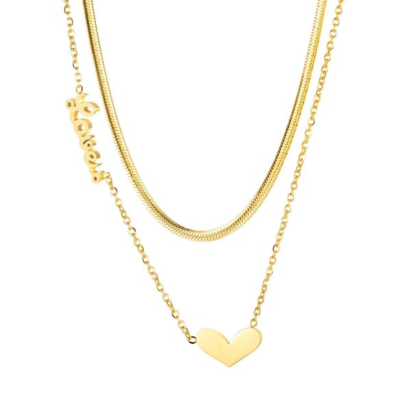 Korean Version Love Love Double Titanium Necklace Women Ins 100 Personality Collarbone Neck Chain Gb1709