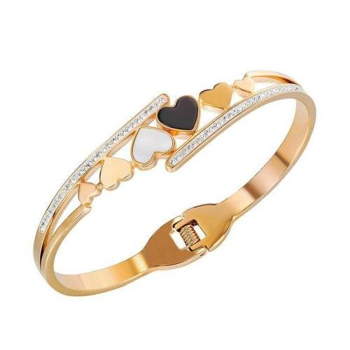 New Simple Fashion Love Bracelet Titanium Steel with Diamond for Women's Bracelet Accessories Gb975