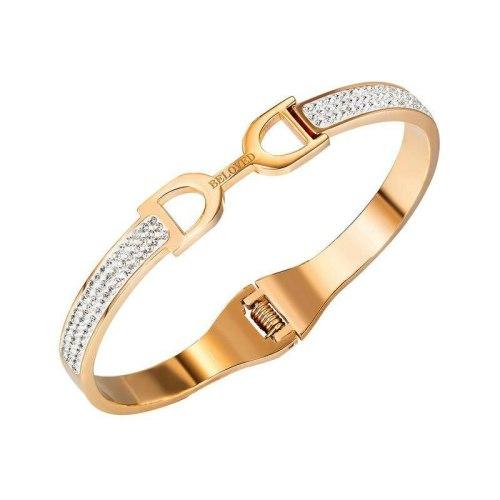 Japanese and Korean Temperament Versatile Letter D Titanium Steel Inlaid Diamond Bracelet Women's Jewelry Wholesale Gb972