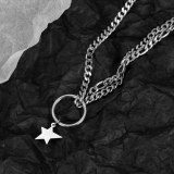 New Classic Personality Doughnout Five Corner Star Double Chain Collar Chain Lady Titanium Necklace Gb1794