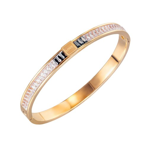 Japanese and Korean Simple Diamond Plated Rose Gold Titanium Steel Bracelet Women's Fashion Versatile Love Jewelry Gb974