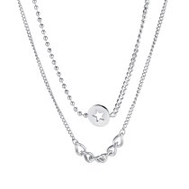 Korean Version of Ins Female Clavicle Chain Neck Chain Joker Double Stars Splicing Titanium Steel Necklace Gb1711