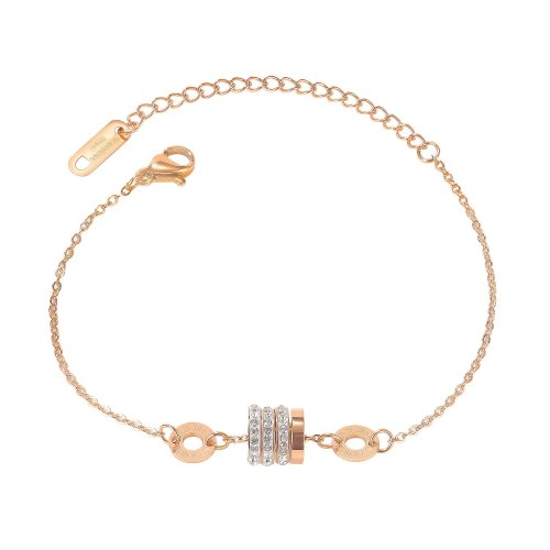 Korean Version of Small Waist Bracelet for Women with Simple Diamond Inlaid Roman Numeral Headdress Gb1102