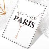 Korean Fashion Bead Titanium Steel Necklace Feminine Quality Light Luxury Bead Clavicle Chain Pendant Gb1714