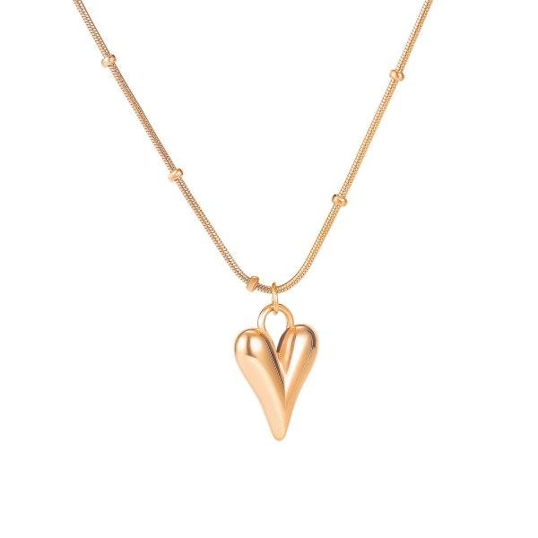 Japanese-Korean Temperament Titanium Steel Necklace Female Ins Long Peach Heart Collarbone Chain Pendant Gb1722