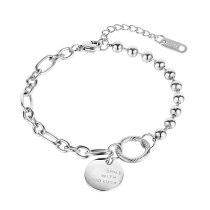Korean Version of Versatile Chain Bead Titanium Steel Bracelet Girl Ins Lucky Hand Ornament for Best Friend Gb1092