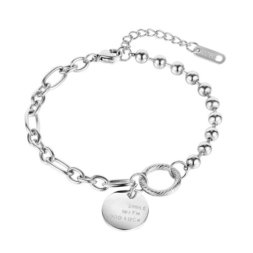 Korean Version of Versatile Chain Bead Titanium Steel Bracelet Girl Ins Lucky Hand Ornament for Best Friend Gb1092