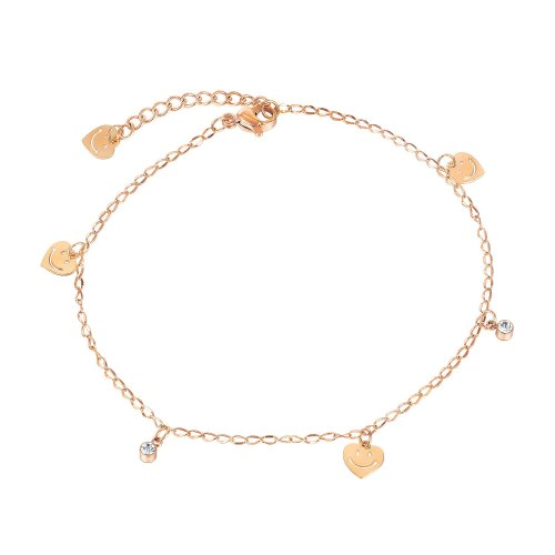 European Fashion Rose Gold Plated Foot Ornament Ins Summer Joker Heart-shaped Smiling Face Titanium Steel Anklet Gb115